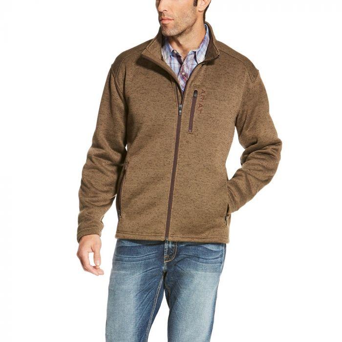 Ariat Mens Caldwell Full Zip Sweater - Fossil