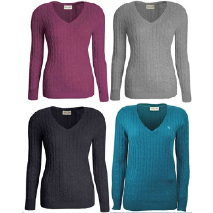 Thomas Cook V-Neck Cable Knit Jumper