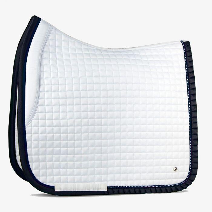 PSOS Ruffle Dressage Pad - White / Navy - Cob