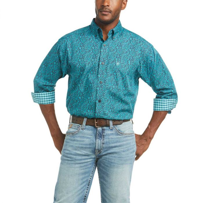 Ariat Men's Wrinkle Free Eamon Classic Fit Long Sleeve Shirt - Ombre Blue