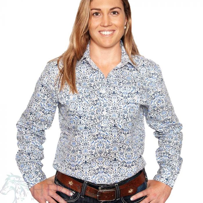 Just Country Georgie Print Shirt - 1/2 Button - White / Blue
