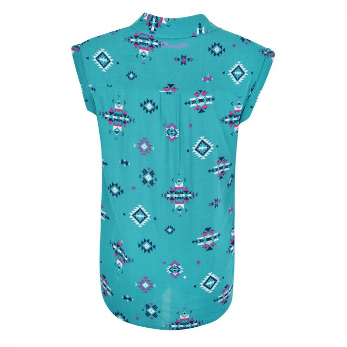 Wrangler Women's Jean Sleeveless Print Shirt - Back