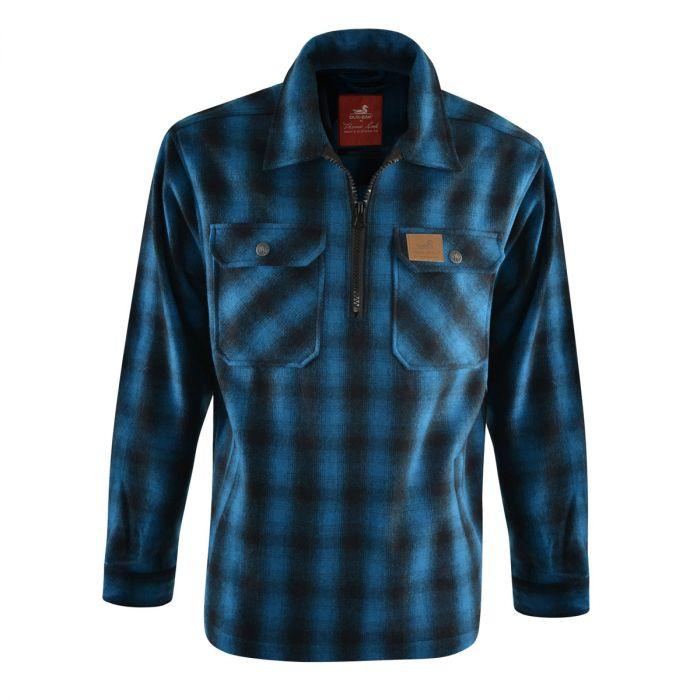 Dux Back Unisex Mallard 1/4 Zip Overshirt - Blue