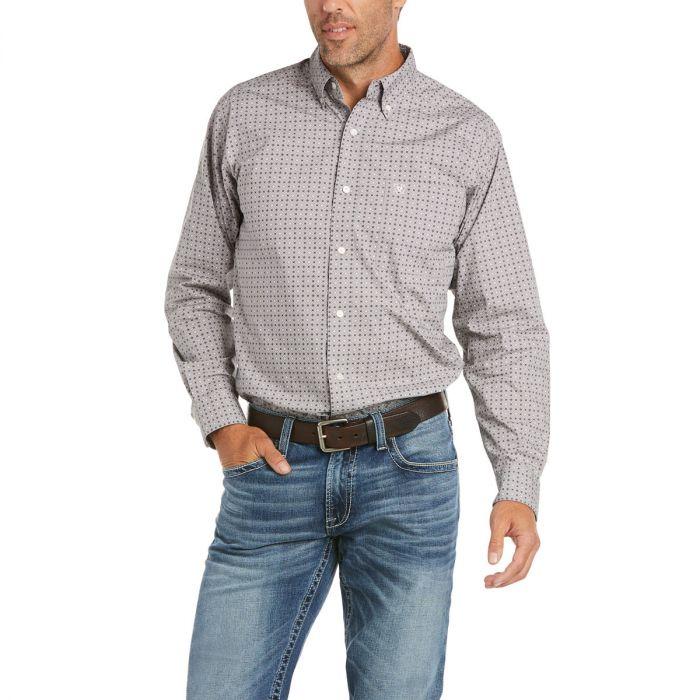 Ariat Men's David Fitted Long Sleeve Shirt - Grey