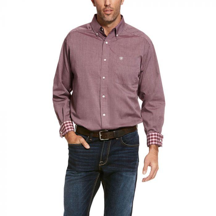 Ariat Men's Wrinkle Free Solid Pinpoint Shirt - Merlot Velvet