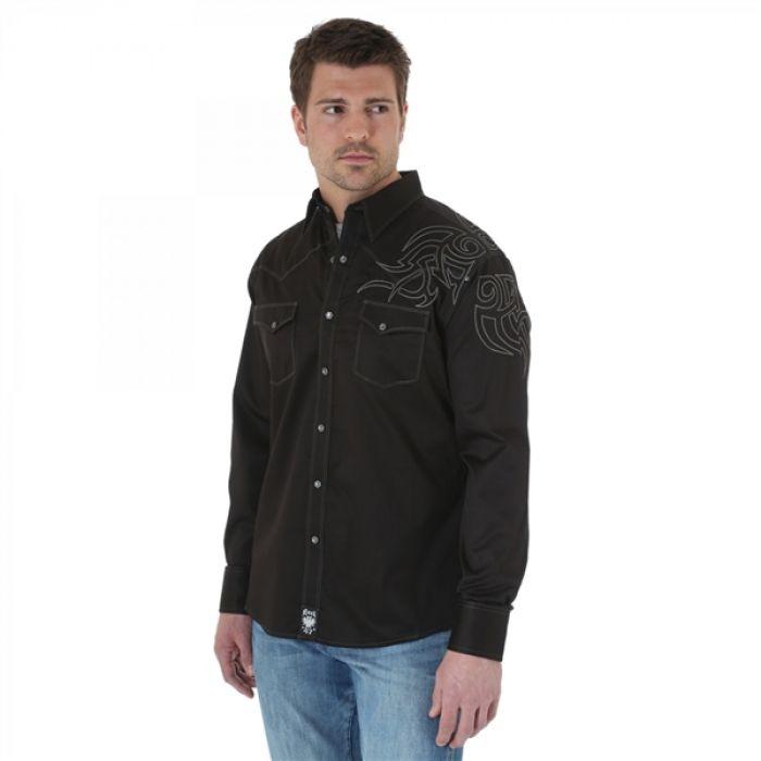Wrangler Rock 47 Long Sleeve Spread Collar Solid Shirt - Black