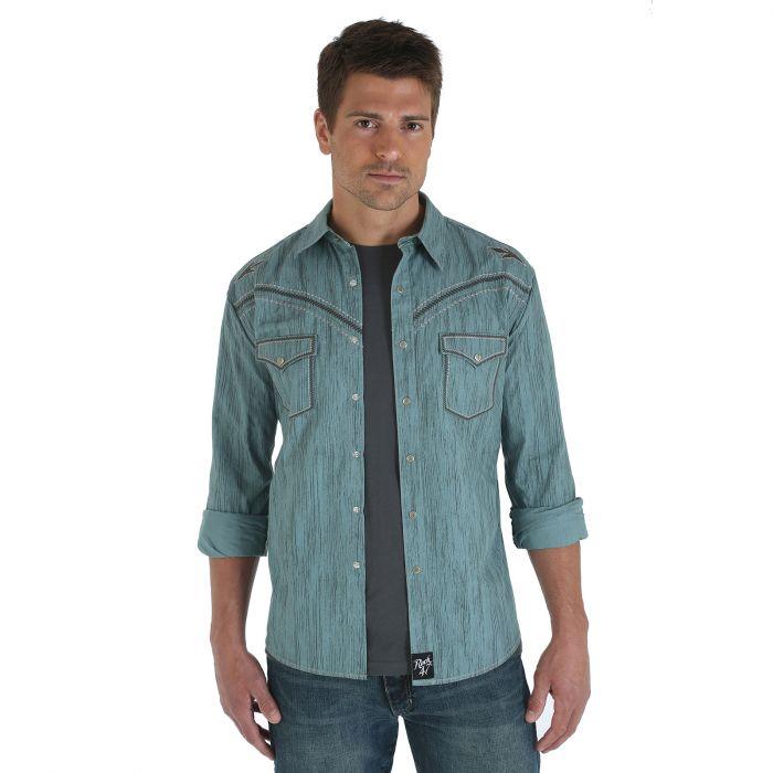 Wrangler Rock 47 Long Sleeve Spread Collar Printed Shirt - Green