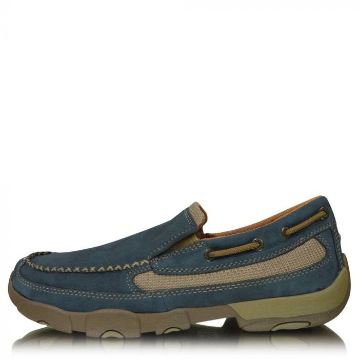 Twisted X Mens Slip-On Driving Moc - Softly Blue