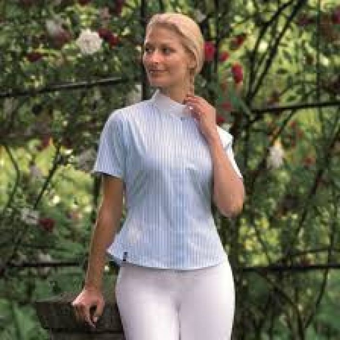 Ladies Competition Short Sleeved Blouse Alexa - White with  Blue Stripe