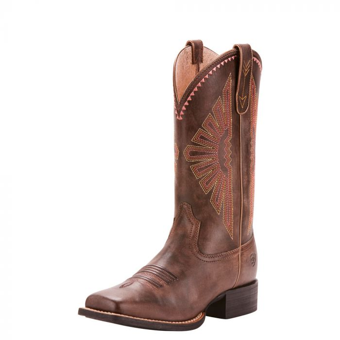 Ariat Round Up Rio Boots - Natural Distressed Brown